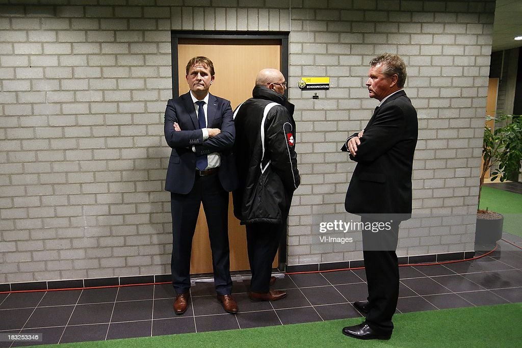 general director Marcel van den Bunder of Roda JC (L) during the Dutch Eredivisie match between Roda JC Kerkrade and PEC Zwolle at the Parkstad Limburg on Oktober 5, 2013 in Kerkrade, The Netherlands