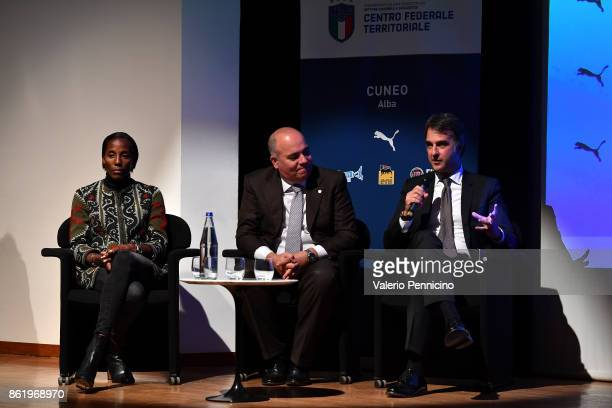 General Director Michele Uva Alessandro D Este and Fiona May attend during the Italian Football Federation Unveils New Regional Federal Training...
