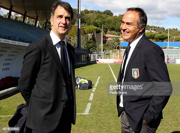 FIGC General Director Michele Uva and Italy head coach Antonio Cabrini look on before the FIFA Women's World Cup Qualifier match between Italy and...