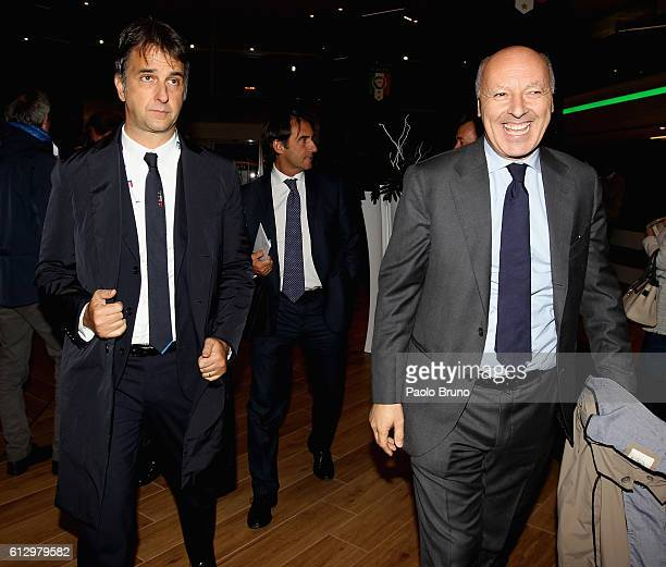 General Director Michele Uva and Juventus FC Sport Director Giuseppe Marotta look on before the FIFA 2018 World Cup Qualifier between Italy and Spain...