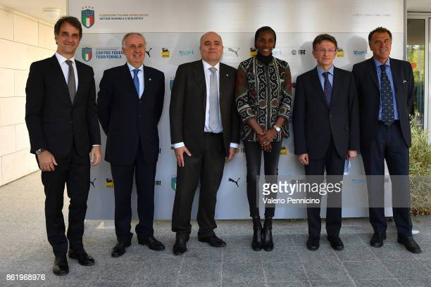 FIGC General Director Michele Uva Edo Milanesio Alessandro D Este Fiona May Claudio Tibaldi and Antonio Castiglia attend during the Italian Football...