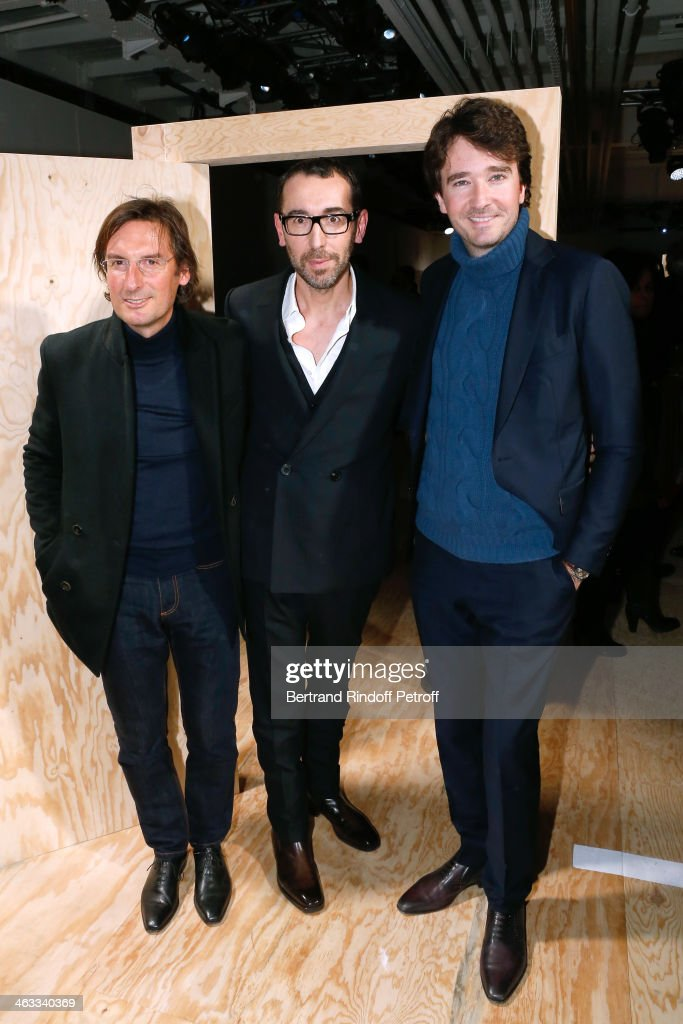General Director of Berluti Pietro Beccari, Fashion designer of Berluti, Alessandro Sartori and General manager of Berluti <a gi-track='captionPersonalityLinkClicked' href=/galleries/search?phrase=Antoine+Arnault&family=editorial&specificpeople=676045 ng-click='$event.stopPropagation()'>Antoine Arnault</a> attends the Berluti Menswear Fall/Winter 2014-2015 Show as part of Paris Fashion Week on January 17, 2014 in Paris, France.