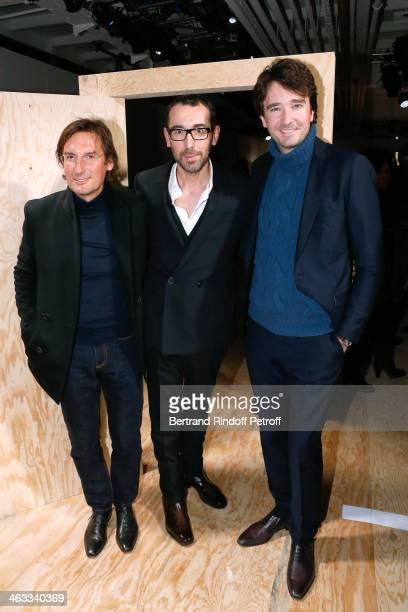 General Director of Berluti Pietro Beccari Fashion designer of Berluti Alessandro Sartori and General manager of Berluti Antoine Arnault attends the...