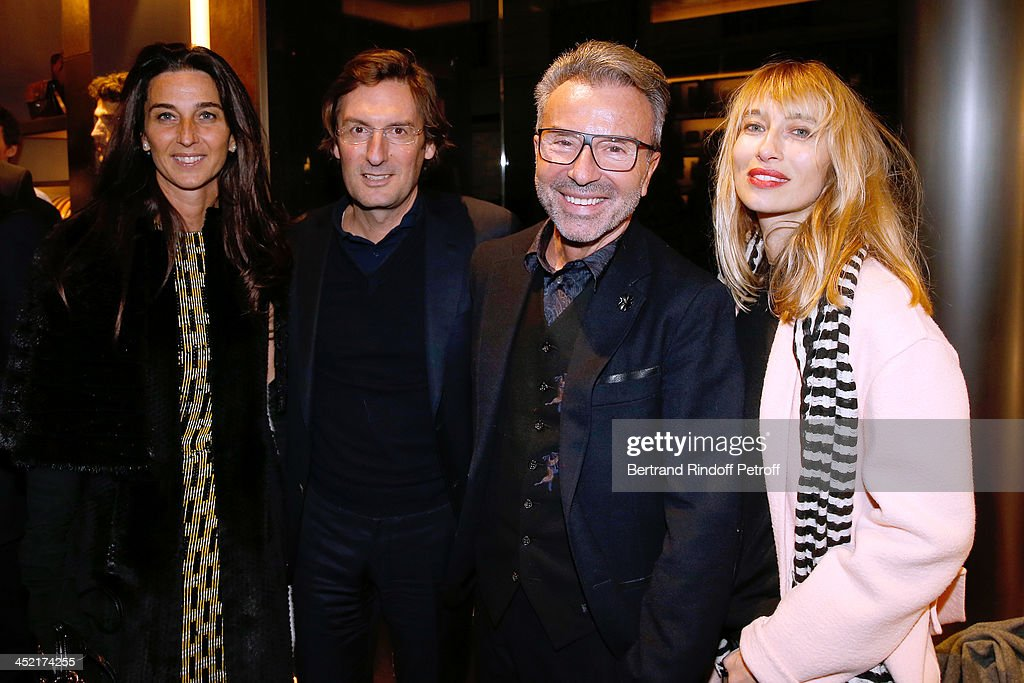 General Director of Berluti Pietro Beccari with his wife Isabella Beccari, Creative Director of Guerlain Olivier Echaudemaison and <a gi-track='captionPersonalityLinkClicked' href=/galleries/search?phrase=Alexandra+Golovanoff&family=editorial&specificpeople=4119816 ng-click='$event.stopPropagation()'>Alexandra Golovanoff</a> attend Berluti Flagship Store Opening on November 26, 2013 in Paris, France.