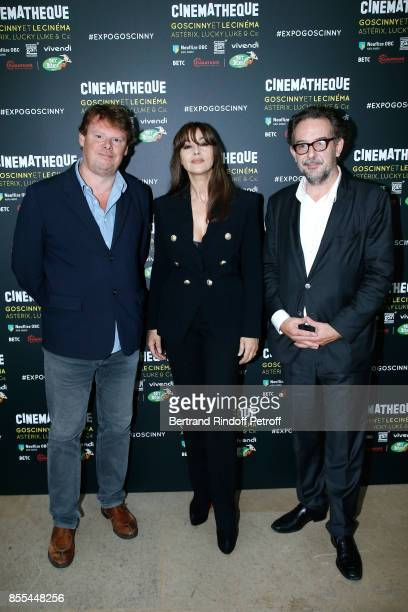General Director of Cinematheque Francaise Frederic Bonnaud actress Monica Bellucci and Curator of the Exhibition attend the 'Goscinny et le Cinema...