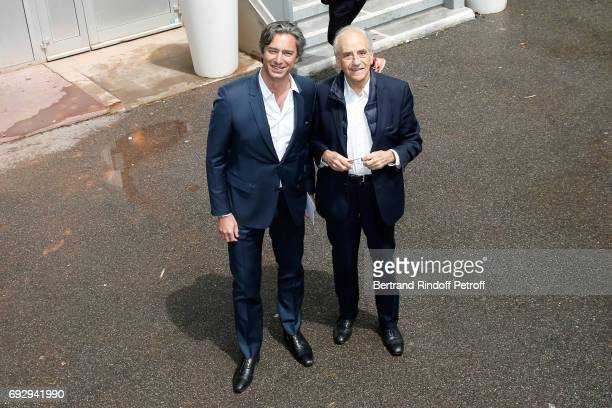 General Director of Facebook France Laurent Solly and journalist JeanPierre Elkabbach attend the 2017 French Tennis Open Day Ten at Roland Garros on...