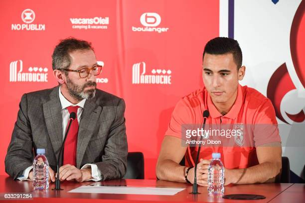 General Director of Lille Marc Ingla and Anwar El Ghazi new signing player of Lille during press conference of Lille OSC at Domaine of Luchin on...