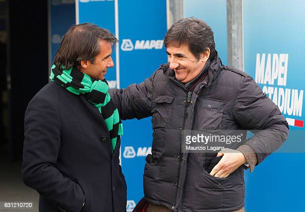 General director of Sassuolo Giovanni Carnevali speaks with president of Torino Urbano Cairo during the Serie A match between US Sassuolo and FC...