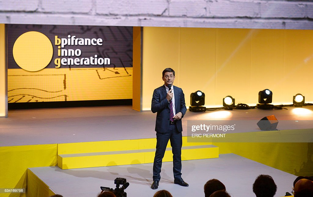 General Director of the Banque Publique d'Investissement (BPI, public bank of Investment) Nicolas Dufourcq delivers a speech during the second edition of the entrepreneurial event Bpifrance Inno Generation on the theme of 'Let's build together the world of tomorrow' at the AccorHotels Arena in Paris on May 25, 2016. / AFP / ERIC