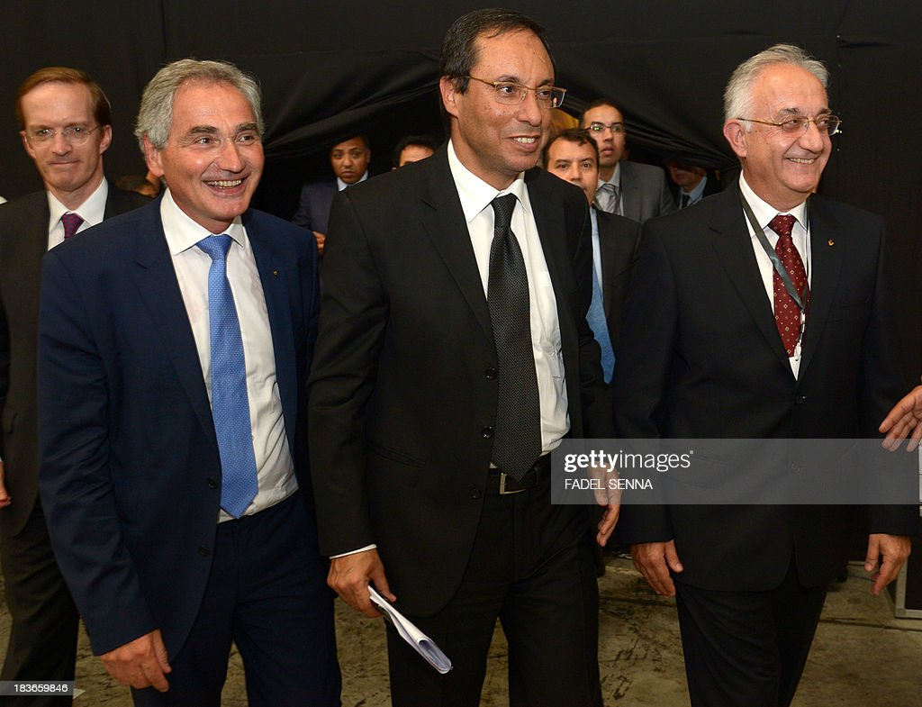 General Director of the French Renault group in Morocco Jacques Prost (L), Moroccan Minister of Industry Abdelkader Amara (C), and Tunc Basegmez the general director of the factory Renault in Tangier (R) attend the opening ceremony of the inauguration of the second phase of the Renault factory in Tangier on October 8, 2013. This second unit, which will oversee the production of the Dacio Sandero car, will allow the French manufacturer to double its production, to reach 340,000 vehicles per year in 2014, which will make Renault Tangier 'the biggest factory' of its type in Africa, according to its managers.