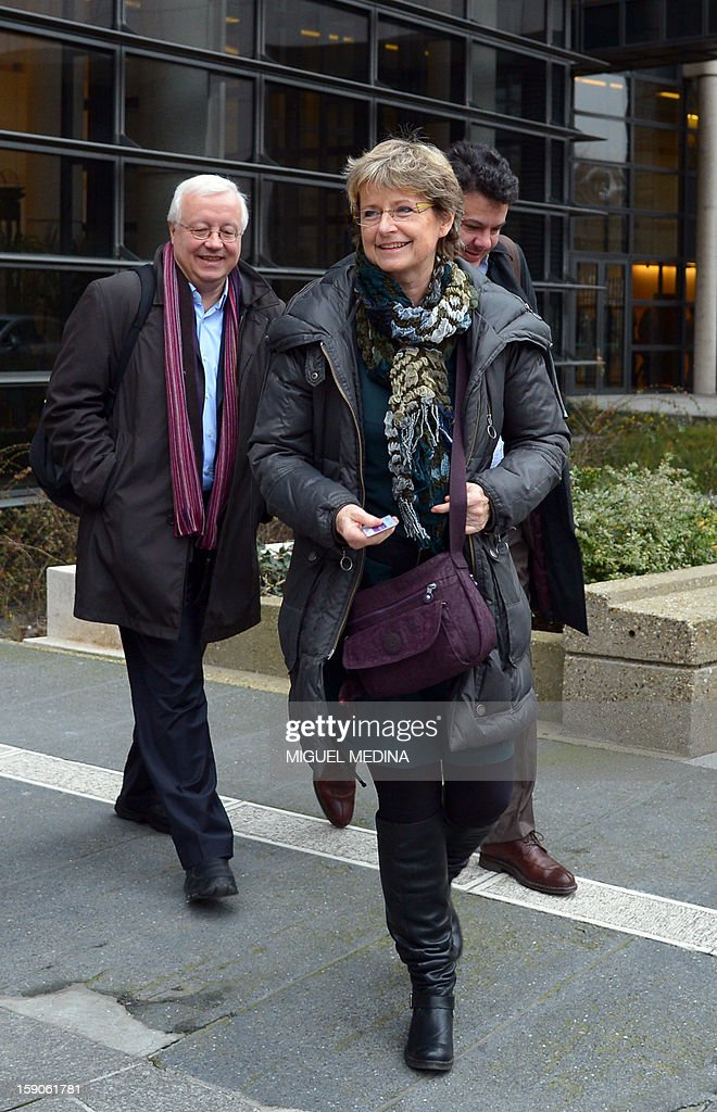 General director of the group of digital editors (Geste) Laure de Lataillade (C) leaves the Economy ministry in Paris, on January 7, 2013 , after a meeting with French Junior minister for Digital economy, over a decision by internet provider Free telecoms to block online advertisements. AFP PHOTO MIGUEL MEDINA