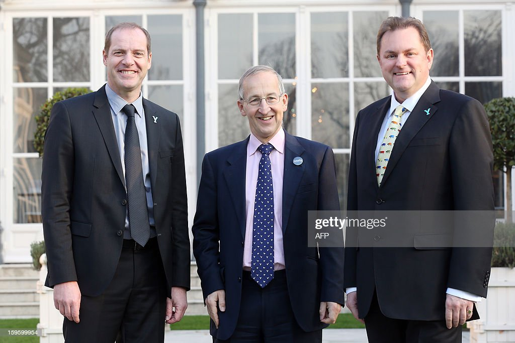General director of the Tour de France Christian Prudhomme (L) Britain's ambassador to France Peter Ricketts (C) and CEO of 'Welcome to Yorkshire' Gary Verity pose on January 17, 2013 in Paris, prior to the official presentation of the 2014 Tour de France's 'Grand depart' (Great departure). The 2014 Tour de France will start with a stage between Leeds and Harrogate in the northern English county of Yorkshire on July 5, organisers of cycling's most prestigious and gruelling race announced today.
