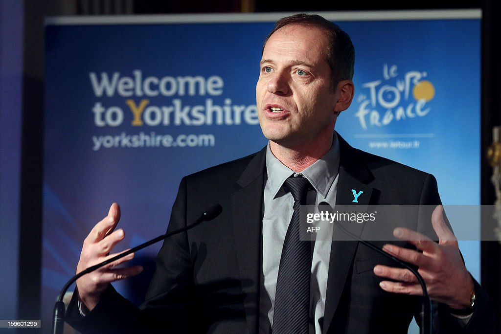 General director of the Tour de France Christian Prudhomme delivers a speech, on January 17, 2013 in Paris, during the official presentation of the 2014 Tour de France's 'Grand depart' (Great departure). The 2014 Tour de France will start with a stage between Leeds and Harrogate in the northern English county of Yorkshire on July 5, organisers of cycling's most prestigious and gruelling race announced today.