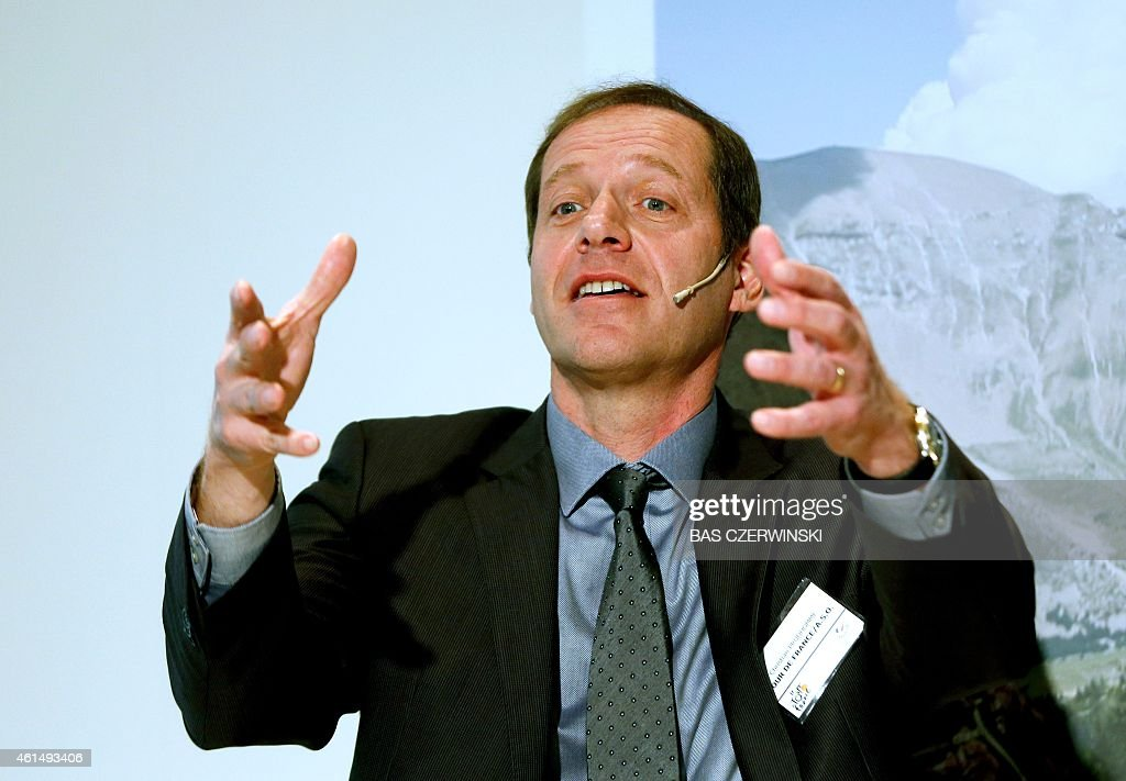General director of the Tour de France cyclist race, French <a gi-track='captionPersonalityLinkClicked' href=/galleries/search?phrase=Christian+Prudhomme&family=editorial&specificpeople=546988 ng-click='$event.stopPropagation()'>Christian Prudhomme</a>, gestures as he speaks during the opening of the Vakantiebeurs (Holiday Fair) in Utrecht, on January 13, 2015. The start of the Tour will take place in Utrecht this year on July 4. AFP PHOTO / ANP / BAS CZERWINSKI - Netherlands out -