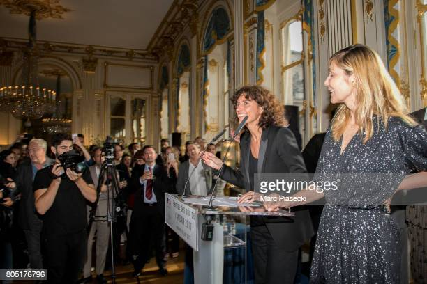 General Director of 'Yves Saint Laurent' Francesca Bellettini and Nathalie Dufour attend the 'ANDAM 2017' Prizewinner cocktail at Ministere de la...