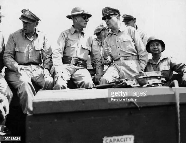 S General Douglas Macarthur And Philippine Sergio Oemena President Accompanied By Their Staff Inspect The Beach Of Leyte In The Pacific After The...