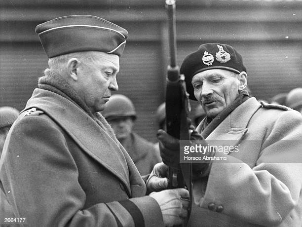 General Dwight D Eisenhower and the English commander Bernard L Montgomery during Allied infantry and tank manoeuvres in England Eisenhower was later...