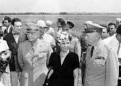 US General Dwight Eisenhower Mamie Eisenhower and General George Marshall 1945