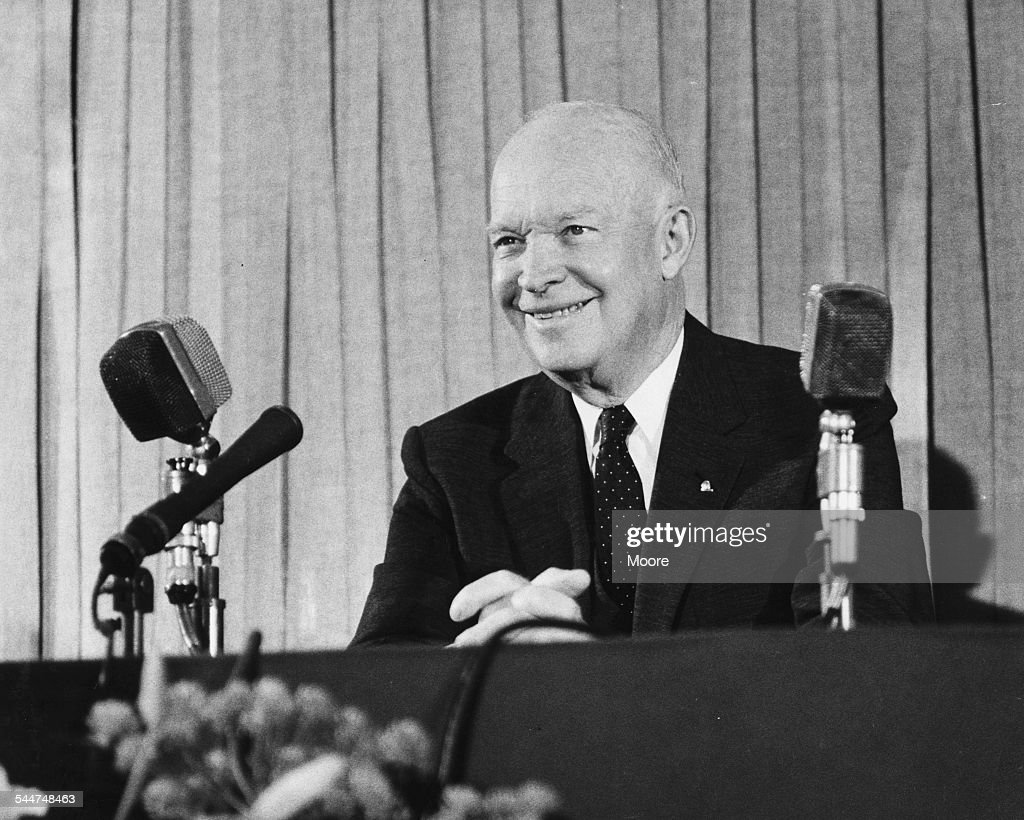 General Eisenhower former US President speaking at a press conference at the Savoy Hotel London August 15th 1962