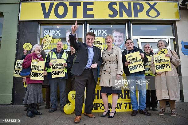 General Election candidate for Edinburgh East Tommy Sheppard is joined by Scotland's Health Secretary Shona Robertson during campaigning on April 2...