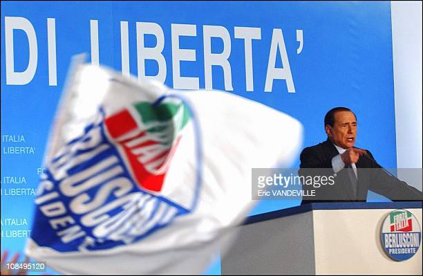 General election in Italy Italian PM Silvio Berlusconi gives a speech during an election rally 4 days before the vote on april 9th in Rome Italy on...