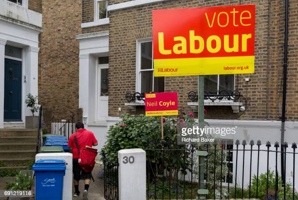 General election placard boards for the Labout candidate Neil Coyle in Walworth Southwark on 1st June 2017 in south London England Coyle is hoping to...