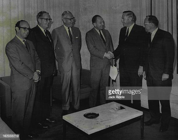 JUL 31 1968 AUG 1 1968 General Electric Acquires KOA Radio and Television From left are Richard Belkin L Mason Harter Richard M Davis William W Grant...