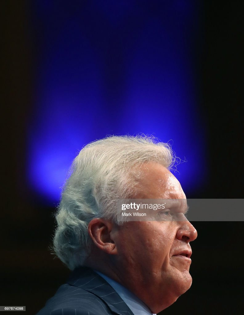 General Electric CEO, Jeffrey Immelt participates in a discussion moderated by Commerce Secretary Wilbur Ross during the Select USA 2017 Investment Summit at the Gaylord international Hotel, on June 19, 2017 in National Harbor, Maryland. SelectUSA is a U.S. government-wide program housed in the International Trade Administration at the United States Department of Commerce.