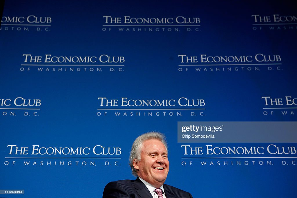 General Electric Chairman and CEO <a gi-track='captionPersonalityLinkClicked' href=/galleries/search?phrase=Jeffrey+Immelt&family=editorial&specificpeople=605437 ng-click='$event.stopPropagation()'>Jeffrey Immelt</a> addresses The Economic Club of Washington during a club luncheon at the Mandarin Oriental Hotel March 31, 2011 in Washington, DC. U.S. President Barack Obama named Immelt chairman of the Council on Jobs and Competitiveness, an outside panel of economic advisers.