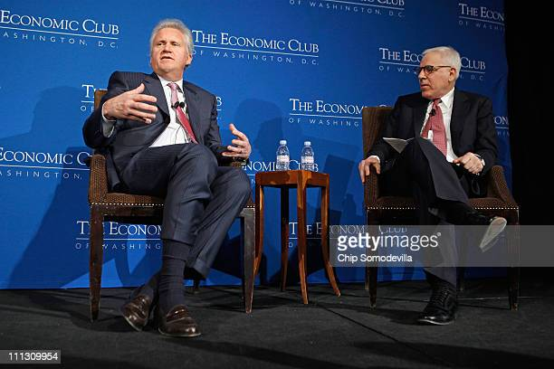 General Electric Chairman and CEO Jeffrey Immelt talks with The Economic Club of Washington President David Rubenstein cofounder of The Carlyle Group...
