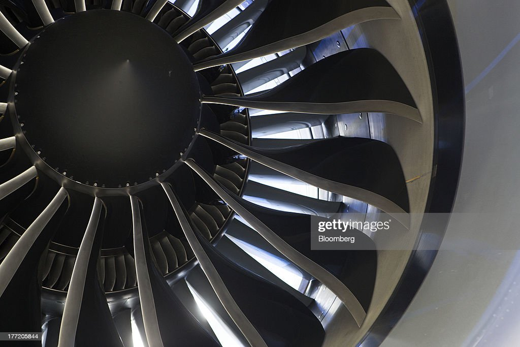 A General Electric Co. GEnx-1B turbofan engine is seen on a Boeing Co. Dreamliner 787-8 jet during an event to mark its delivery to Grupo Aeromexico SAB at the Benito Juarez International Airport in Mexico City, Mexico, on Wednesday, Aug. 21, 2013. Grupo Aeromexico SAB, Mexicos largest airline, is spearheading the biggest fleet upgrade in the nations history with Boeing Co.s Dreamliner as its competitors buy planes from Airbus SAS and Russias Sukhoi. Photographer: Susana Gonzalez/Bloomberg via Getty Images