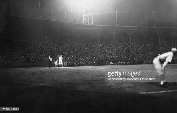 146 General Electric L31A Novalux floodlights shine onto the diamond at a Duquesne Devils baseball game