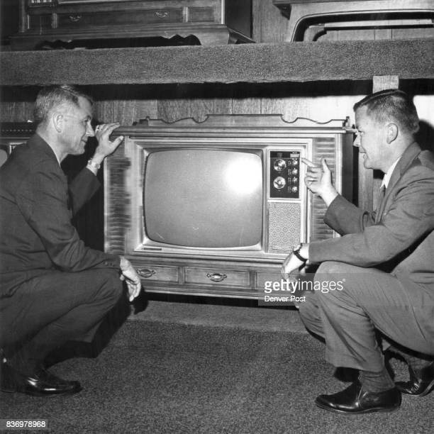 General Electric TV Vince Binder left manager of consumer electronics for General Electric and Terry Wulfekuhler GE manager of advertising and sales...