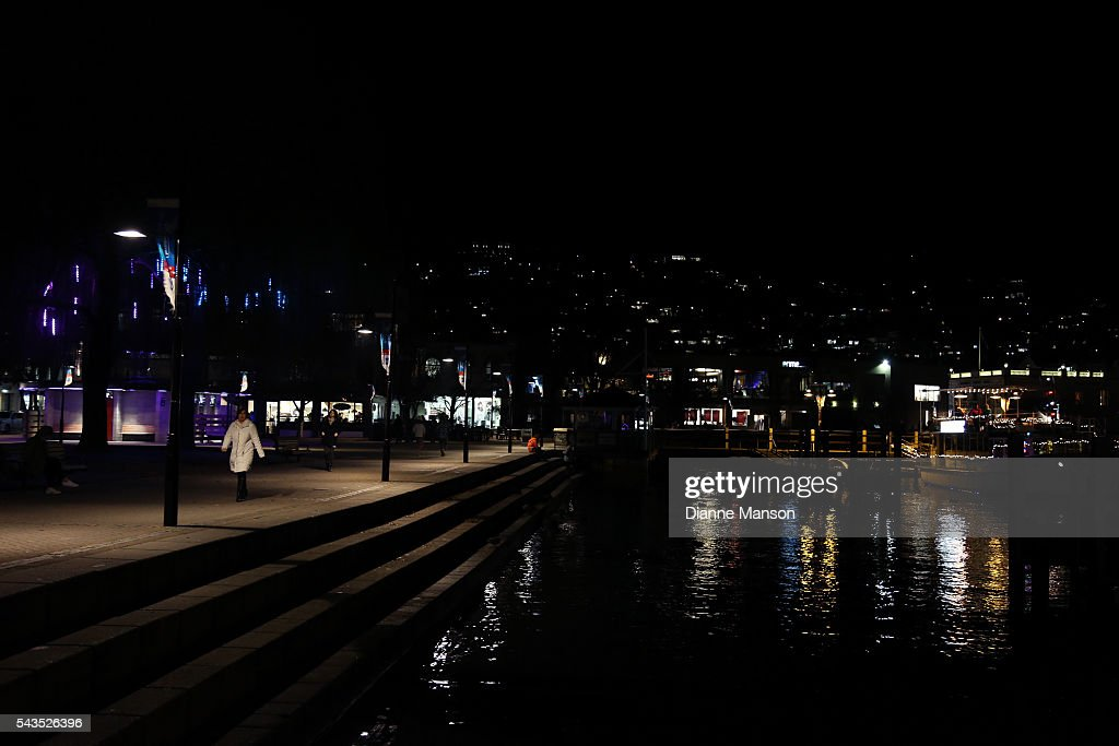 A general evening view from the TSS Earnslaw Steamer wharf during the Queenstown Winter Festival on June 29, 2016 in Queenstown, New Zealand.