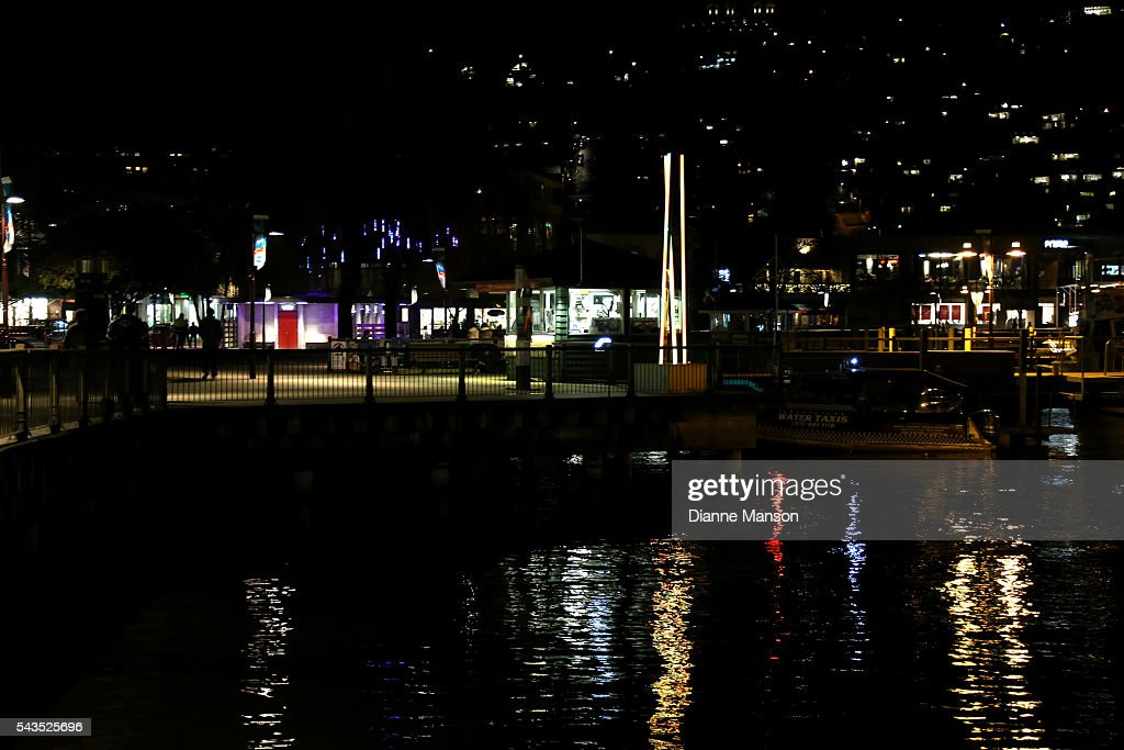 A general evening view looking towards the township of Queenstown from the wharf during the Queenstown Winter Festival on June 29, 2016 in Queenstown, New Zealand.