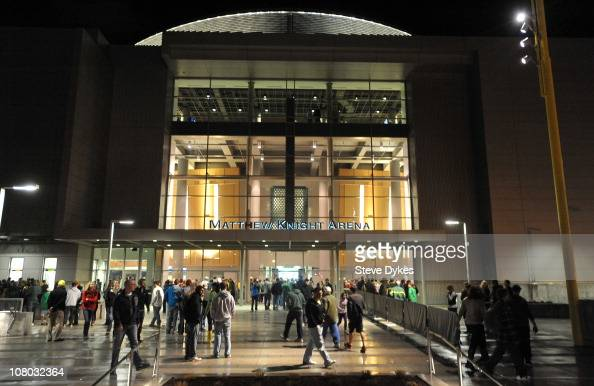 A general exterior view of Matthew Knight Arena on January 13 2011 in Eugene Oregon The arena is named in memory of Matthew Knight the son of Phil...