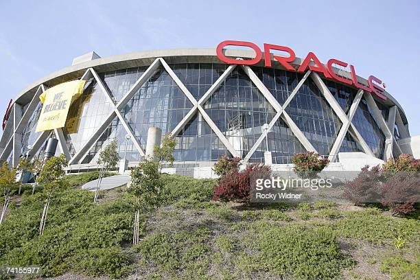 A general exterior view of Oracle Arena prior to Game Three of the Western Conference Quarterfinals between the Dallas Mavericks and the Golden State...