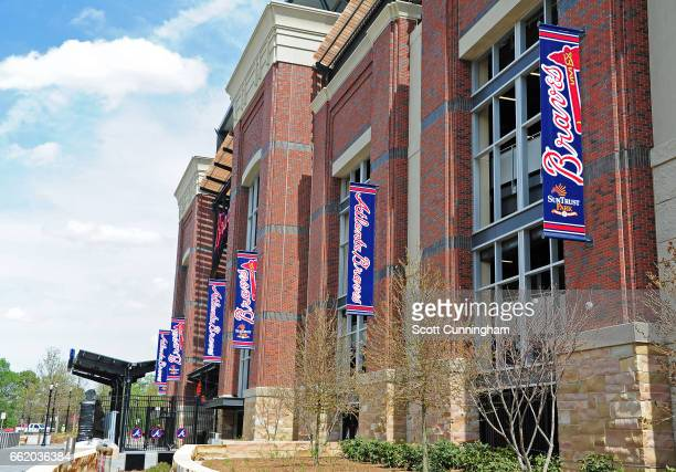 A general exterior view of SunTrust Park before the exhibition game between the Atlanta Braves and the New York Yankees on March 31 2017 in Atlanta...