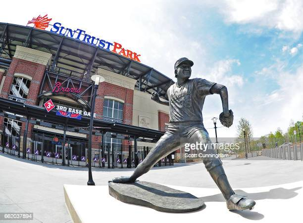 A general exterior view of SunTrust Park with the statue of Phil Niekro before the exhibition game between the Atlanta Braves and the New York...