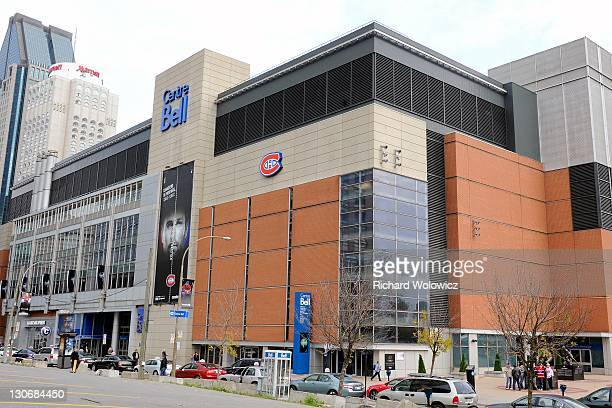 General exterior view of the Bell Centre prior to the the NHL game between the Montreal Canadiens and the Florida Panthers at the Bell Centre on...