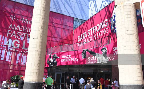 A general exterior view of the Duke Energy Convention Center decorated for the TMobile AllStar FanFest prior to the 86th MLB AllStar Game at Great...
