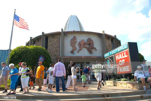 A general exterior view of the Pro Football Hall of fame prior to the Class of 2012 Enshrinement Ceremony at Fawcett Stadium on August 4 2012 in...