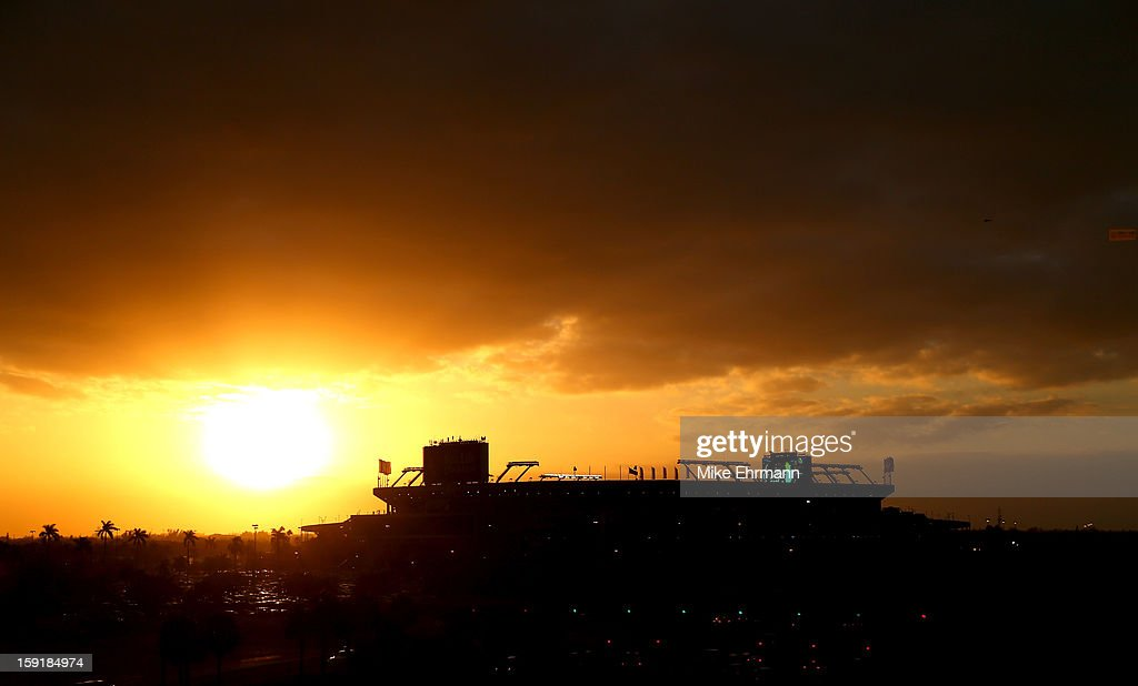 A general exterior view of the sun setting behind Sun Life Stadium prior to the Florida State Seminoles playing against the Northern Illinois Huskies during the Discover Orange Bowl at Sun Life Stadium on January 1, 2013 in Miami Gardens, Florida.