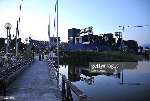 A general exterior view of the theatre during the premiere of the opera 'La Fanciulla del West' at the opening night of the 56th Puccini Festival on...