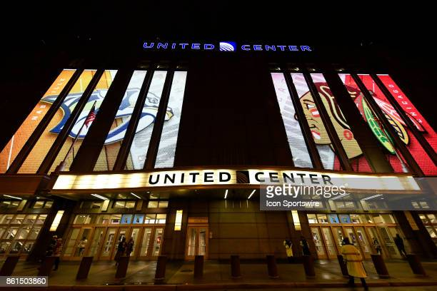 A general exterior view of the United Center during a game between the Chicago Blackhawks and the Nashville Predators on October 14 at the United...