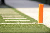 A general field level view of the goal line pylon during a game between the New York Jets against the Buffalo Bills on December 14 2008 at Giants...