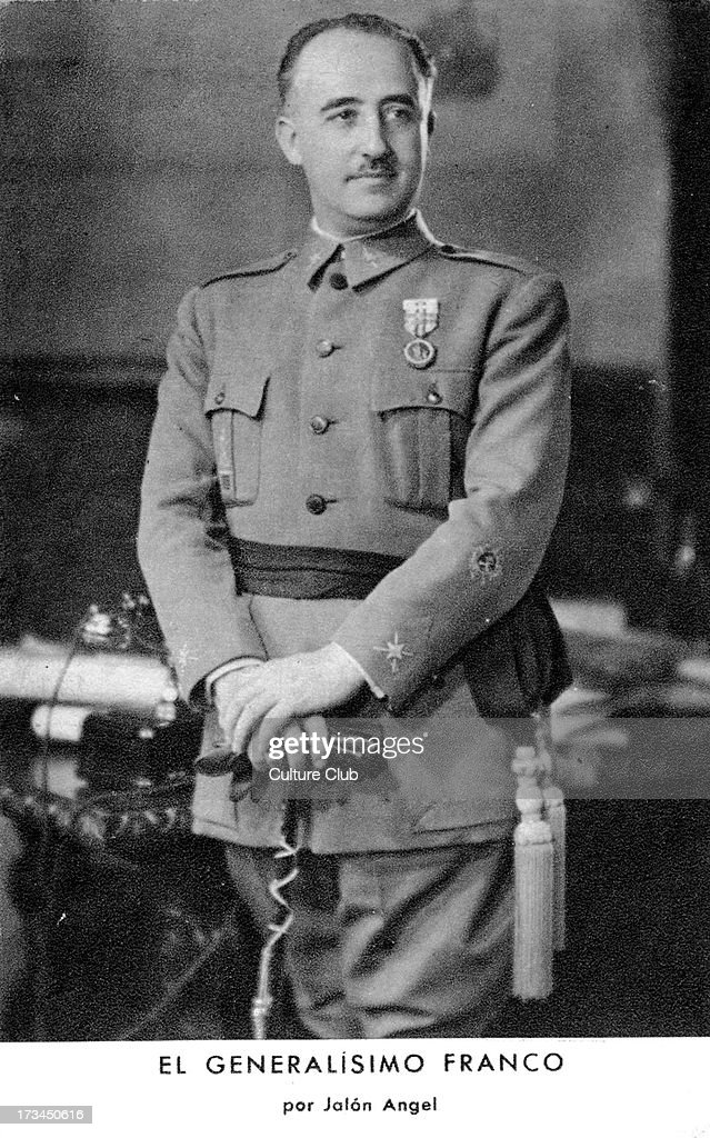 General Francisco Franco portrait Spanish military general dictator and member of the Falange movement 4 December 1892 – 20 November 1975