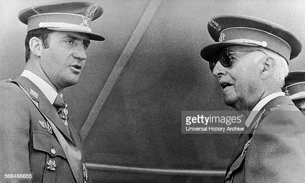 General Francisco Franco with his heir apparent Prince Juan Carlos at a military ceremony in Madrid in 1972