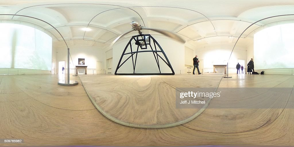 A general gallery view featuring a propeller from a B-52 bomber, part of an installation at the Scottish National Gallery of Modern Art on February 12, 2016 in Edinburgh, Scotland. Works by twenty two of the artists in British Art Show 8 will be exhibited at the Scottish National Gallery of Modern Art. The selection reflects the huge diversity of media used by artists working today, and features painting, sculpture, printmaking, textiles, film and video, large-scale installation and ceramics. Artists include the 2013 Turner Prize-winner Laure Prouvost, the acclaimed Scottish filmmaker Rachel Maclean, the celebrated artist Linder, who started her career at the centre of the Seventies punk scene in Manchester, and Turner Prize-nominees Lynette Yiadom-Boakye and Ciara Phillips.