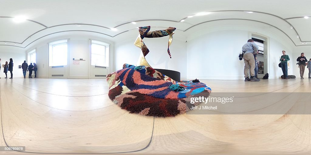 A general gallery view featuring rug installation titled 'Diagram of Love: Marriage of Eyes' at the Scottish National Gallery of Modern Art on February 12, 2016 in Edinburgh, Scotland. Works by twenty two of the artists in British Art Show 8 will be exhibited at the Scottish National Gallery of Modern Art. The selection reflects the huge diversity of media used by artists working today, and features painting, sculpture, printmaking, textiles, film and video, large-scale installation and ceramics. Artists include the 2013 Turner Prize-winner Laure Prouvost, the acclaimed Scottish filmmaker Rachel Maclean, the celebrated artist Linder, who started her career at the centre of the Seventies punk scene in Manchester, and Turner Prize-nominees Lynette Yiadom-Boakye and Ciara Phillips.